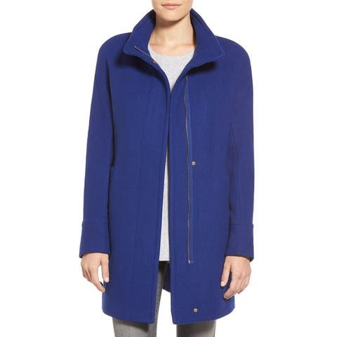 Ellen Tracy Womens Coat Blue Size 6 Front Besom Pockets Stand Collar