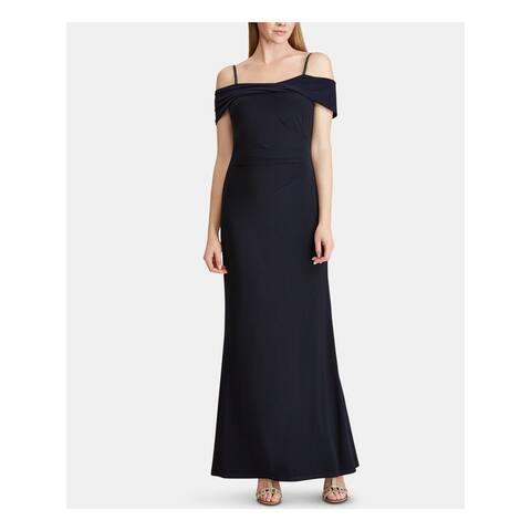 RALPH LAUREN Navy Spaghetti Strap Maxi Sheath Dress Size 16