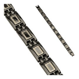 Stainless Steel Black Plated Tribal Link Bracelet (10 mm) - 8.75 in