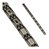 Stainless Steel Black Plated Tribal Link Bracelet (10 mm) - 8.75 in