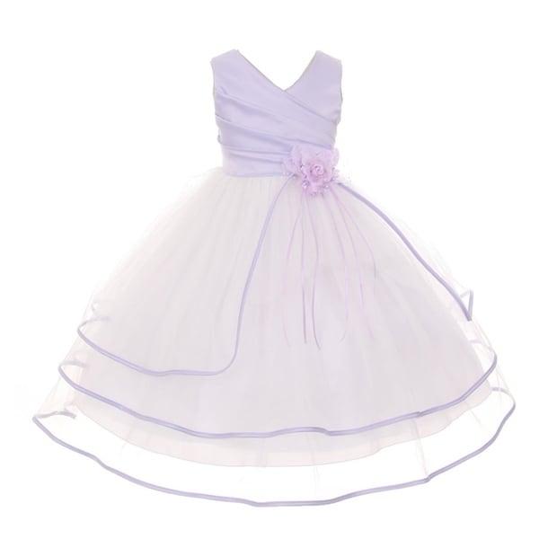 e2b9ce8d8 Shop Chic Baby Little Girls Lilac Taffeta Layered Satin Trim Flower Girl  Dress - Free Shipping Today - Overstock - 18166557