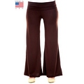Plus Size Women's Brown Palazzo Pants Lose Fit Wide Leg Folding Waist Sexy Comfy - Thumbnail 0