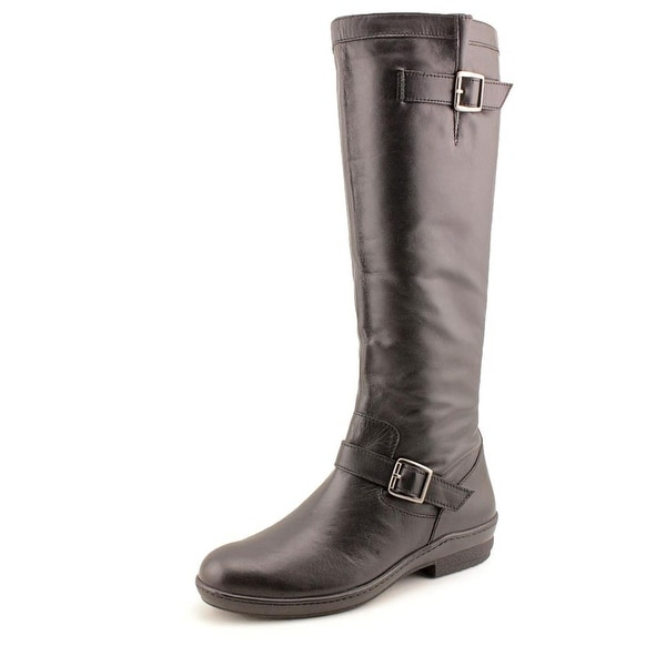 David Tate Dorthy Women SS Round Toe Leather Black Knee High Boot