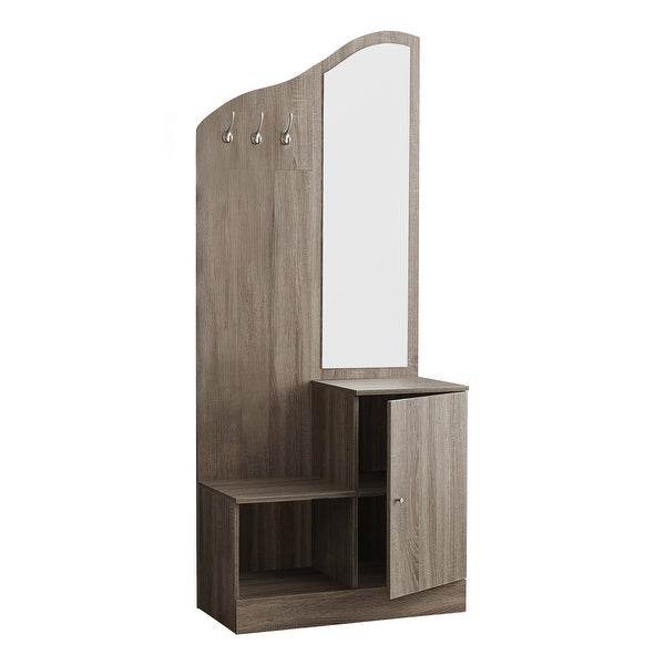 "74.5"" Taupe Brown Contemporary Rectangular Storage Unit with Mirror Hall Tree - N/A"