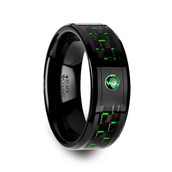 Hadar Black Ceramic Ring With And Green Carbon Fiber Emerald Setting 8mm