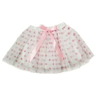 Little Girls White Pink Polka Dots Satin Elastic Waist Ballet Tutu Skirt 2-8Y
