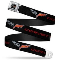 C6 Logo Corvette Black Red Seatbelt Belt Fashion Belt