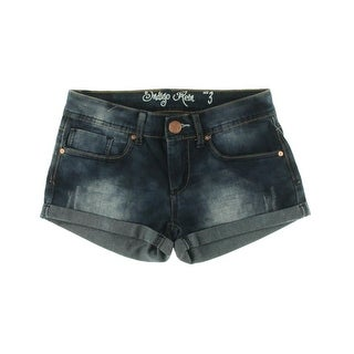 Indigo Rein Womens Juniors Acid Wash Distressed Casual Shorts - 13