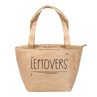 Carson Reusable Lunch Bag - Insulated Leftovers Tote for Food - Zip Closure and Handles with Brown Paper Sack Design