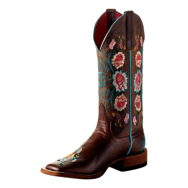 Macie Bean Western Boots Womens Come Back Floral Tan Weathered