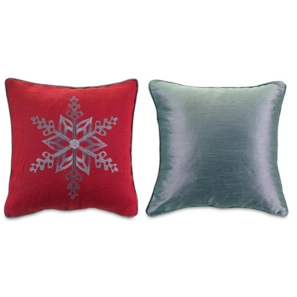 Set of 4 Red and Silver Colored Christmas Snowflake Throw Pillows 16""