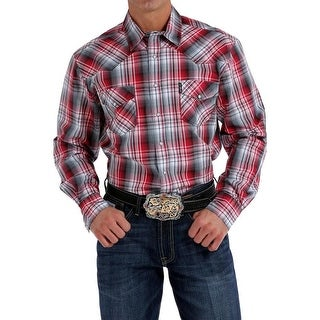 Cinch Western Shirt Mens Long Sleeve Plaid Snap White Red