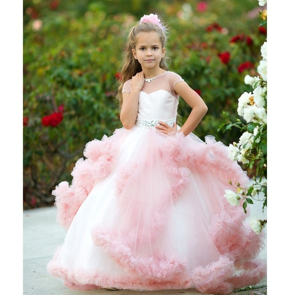 99f6f97b0d0 Shop Little Girls Dusty Rose Tulle Satin Mesh Crystal Elizabeth Flower Girl  Dress 10 - Free Shipping Today - Overstock - 19292451