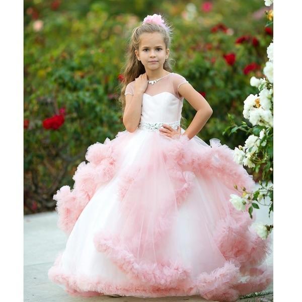 78ff8cf486c Shop Little Girls Dusty Rose Tulle Satin Mesh Crystal Elizabeth Flower Girl  Dress 10 - Free Shipping Today - Overstock - 19292451