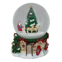 """6.75"""" Musical and Animated Santa on Sleigh Rotating Christmas Snow Globe - RED"""