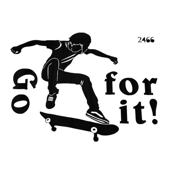 Skateboard Pattern Wall Stickers Self-stick Artificial Decal for Living Room