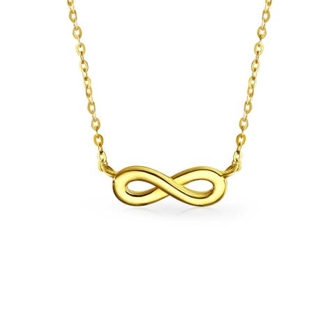Tiny 14K Yellow Real Gold Polished Station Love Symbol Infinity Pendant Necklace For Women For Teen For Girlfriend - 16