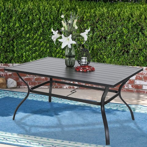 Outdoor Metal Dining Table Garden 6 Person Umbrella Table for Lawn Patio Pool Sturdy Steel - 1 Table
