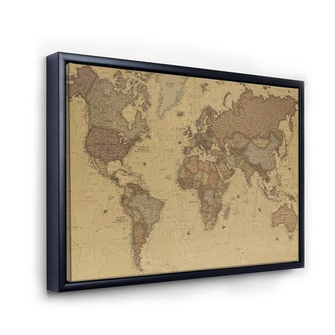 Designart 'Ancient Map of The World III' Vintage Framed Canvas Wall Art Print