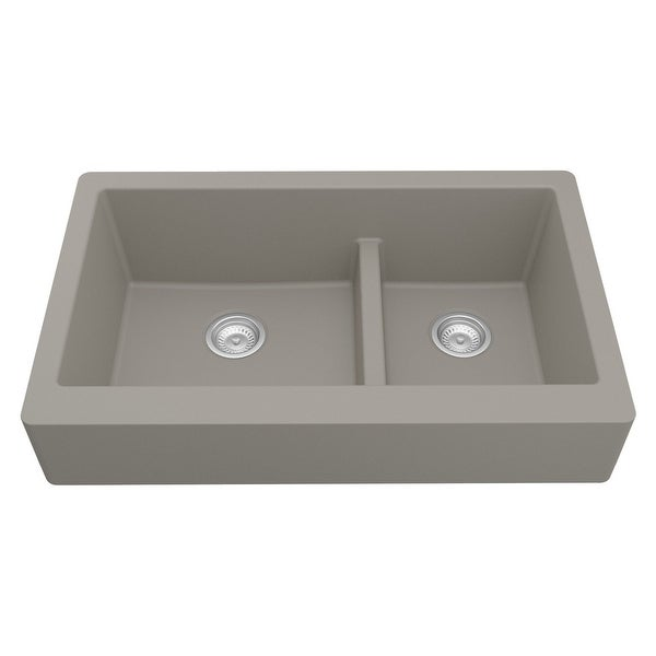 Karran Retrofit Apron-Front Quartz Double Bowl Kitchen Sink