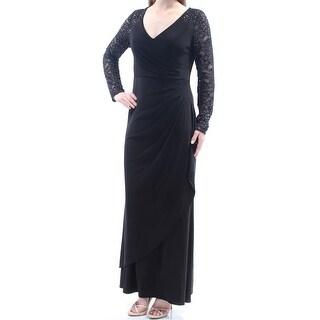 Womens Black Long Sleeve Maxi Sheath Evening Dress Size: 8