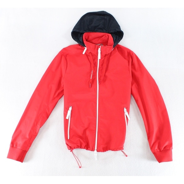 99aa8deb2a4579 Shop Armani Exchange Red Mens Size Small S Hooded Windbreaker Jacket - Free  Shipping Today - Overstock - 22023059