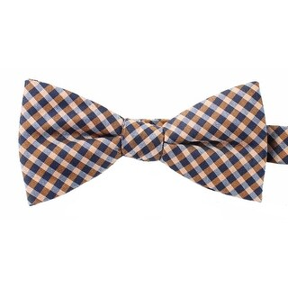 Countess Mara NEW Orange Navy Blue Men's Gingham Plaid Print Bow Tie