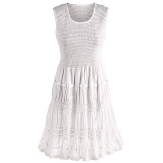 Women's Boho White Sundress - Sleeveless Tank Cotton Midi Summer Dress