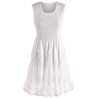 Women's Boho White Sundress - Sleeveless Tank Cotton Midi Summer Dress (2 options available)