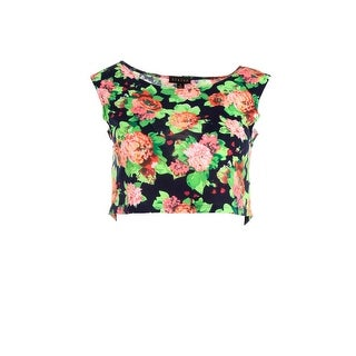Timing Womens Juniors Crop Top Knit Floral Print