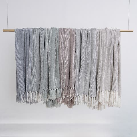 Stripe Textured Tasseled Polyester Throw