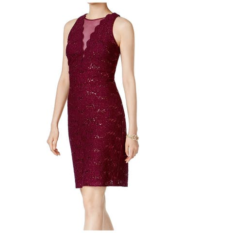 Nightway Red Womens Size 4 Sequined Lace Mesh-Panel Sheath Dress