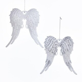 Club Pack of 24 Silver Colored Glittering Angel Wing Ornaments 5.7""