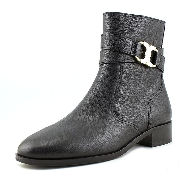 Tory Burch Gemini Link Bootie Women Round Toe Leather Black Ankle Boot