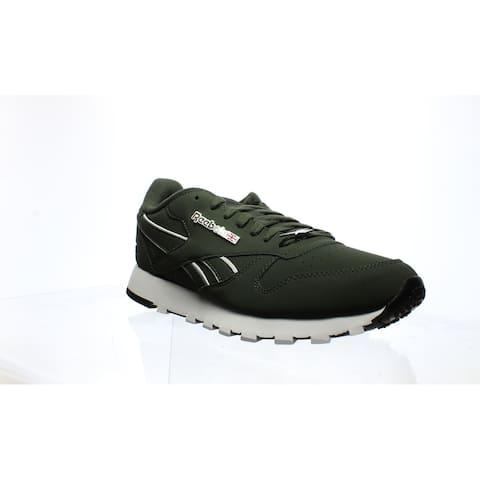 Reebok Mens Cl Lthr Mu Green Running Shoes Size 8