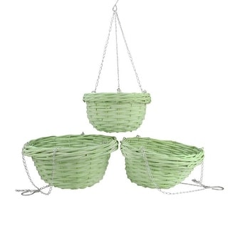 "Set of 3 French Countryside Decorative Green Willow Hanging Basket Planters 9.75""-14"""