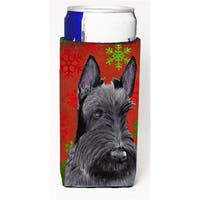 Scottish Terrier Red and Green Snowflakes Holiday Christmas