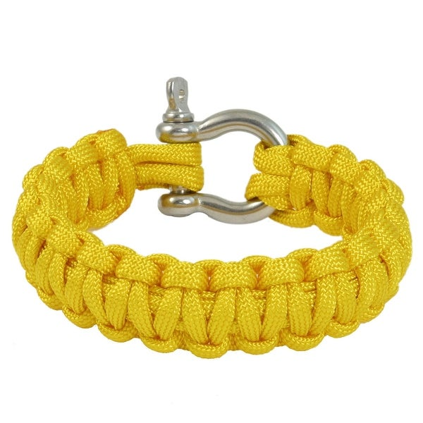 Unique Bargains Stainless Steel Shackle Practical Survival Bracelet Yellow for Outdoor Sports