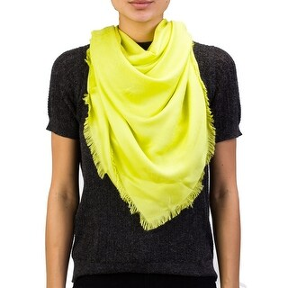 Versace Women's Repeating Medusa Logo Pattern Lenpur Scarf Lime Green