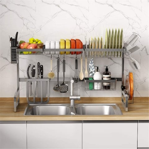 Adjustable Large Dish Drying Rack Over the Sink