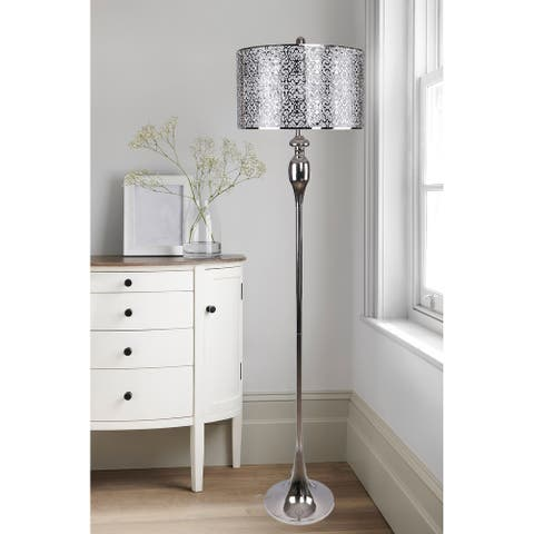63 in. Metal Floor Lamp with Luxurious Drum Shades