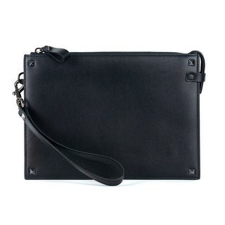 Valentino Black Leather Handle Rocketed Clutch - One size