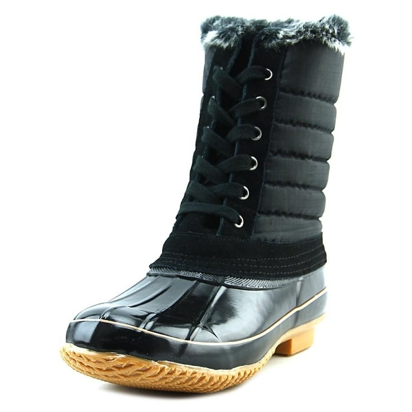 Khombu Brighton Women Round Toe Synthetic Black Snow Boot