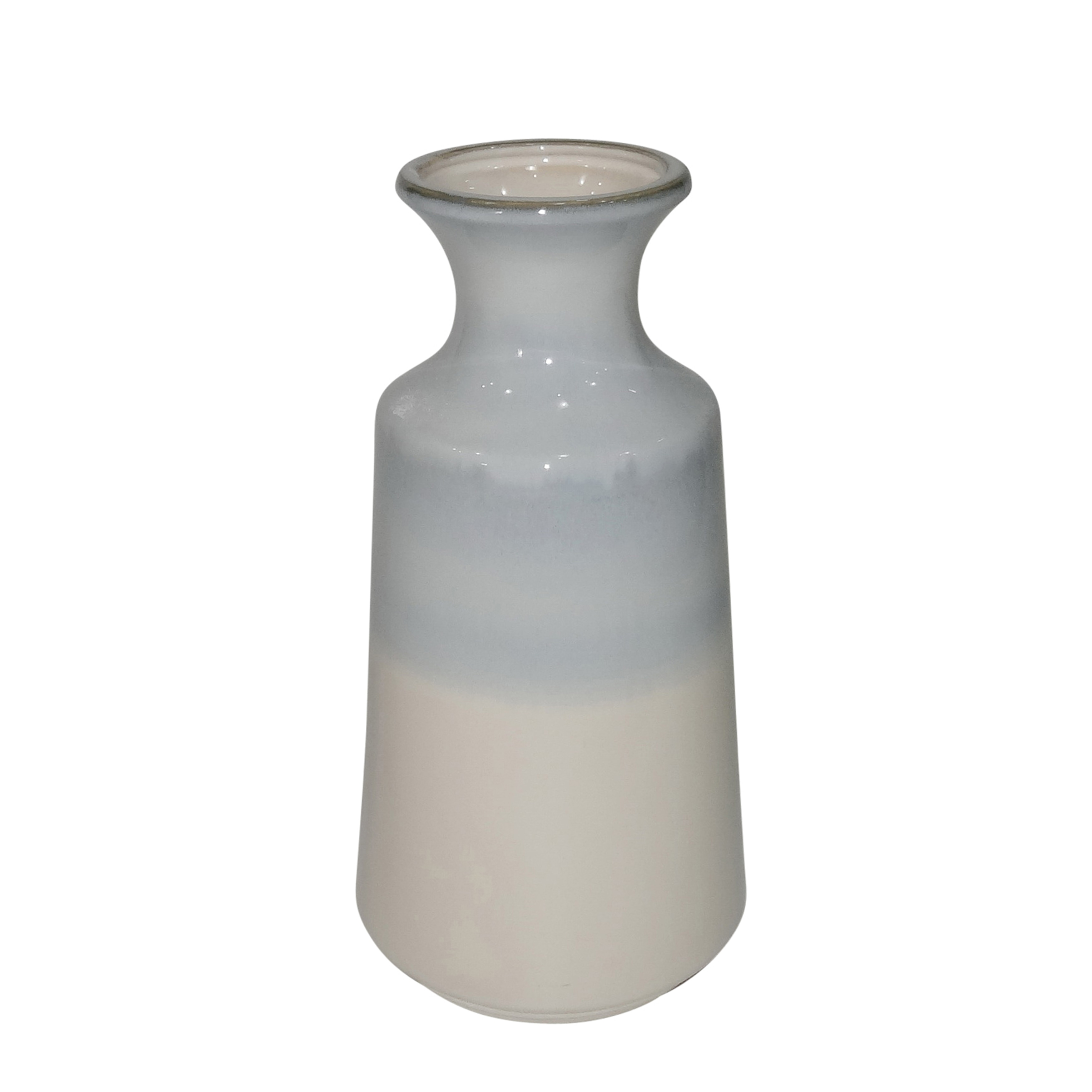 Dual Tone Ceramic Vase with Flared Neck, Blue and White