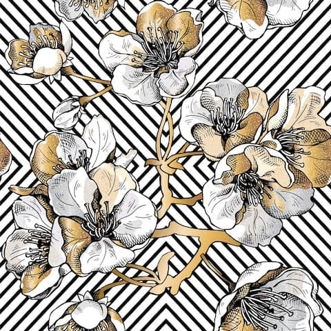 Rose Gold Cherry Flowers on black background - 24'' inch x 10'ft