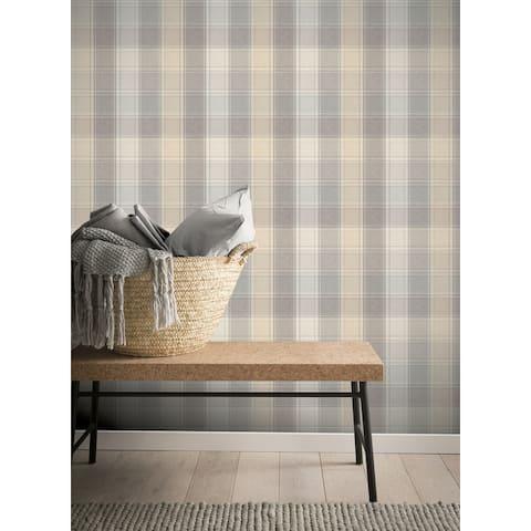 Arthouse Country Check Grey Wallpaper