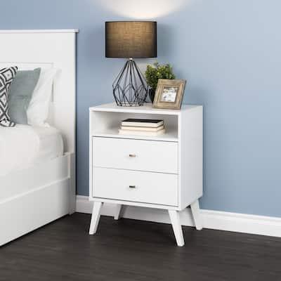 Milo Mid Century Modern 2-drawer Tall Nightstand with Open Shelf
