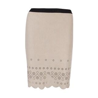 Karen Kane Women's Faux-Suede Scallop-Hem Pencil Skirt (Khaki, XS) - XS