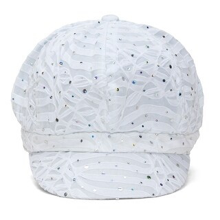 Top Headwear Women's Glitter Sequin Trim Newsboy Style Relaxed Fit Hat Cap