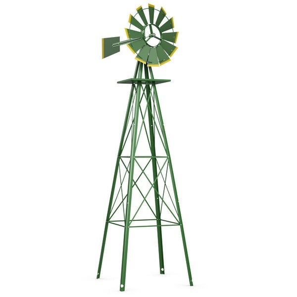 Costway 8Ft Tall Windmill Ornamental Wind Wheel Silver Green And Yellow Garden Weather Vane